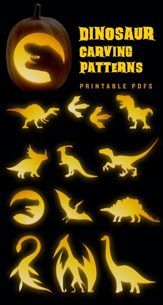 Dinosaur Pumpkin Carving Pattern  Simple Jack-o-Lantern