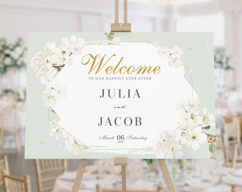 Display Piece Portrait Greetings Sign Wedding Decor Personalised Sunny Wedding Welcome Sign Fully Editable Wedding Signage
