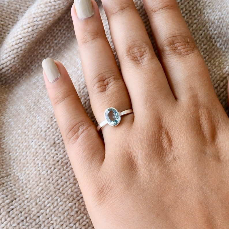 Natural Gemstone March Birthstone Gift For Her Natural Aquamarine Minimal Dainty Solitaire Ring 925 Sterling Silver Aquamarine Ring
