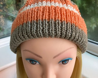 Vintage 1960s Gray Wool Hat with Brown and Orange Ribbon by Muriel