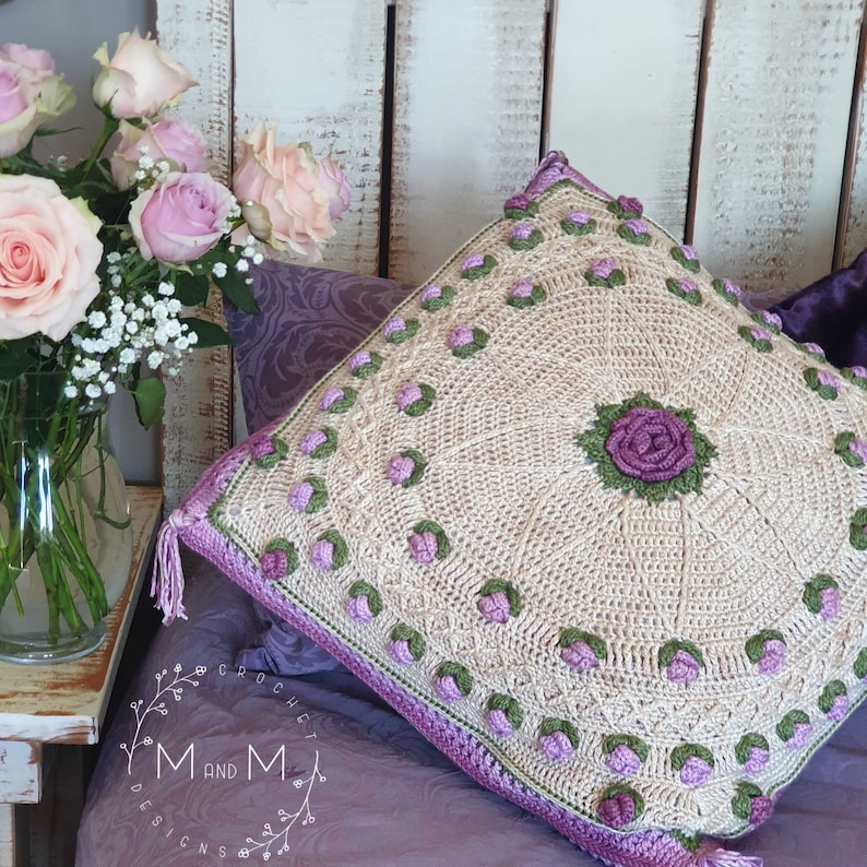 Crochet Pillow Pattern with Roses Lyn's Rose Garden image 1