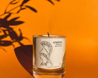 Bergamot and Black Pepper scented soy candle | Athena