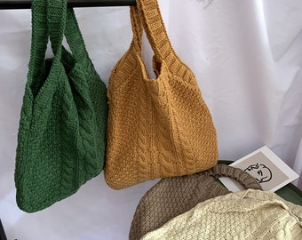 Shopping Bag All-match Casual Bag Cartoon knitting bag,Knitted openwork wool-Retro Twist Knitted Bag Large Capacity Bag Women/'s Bag