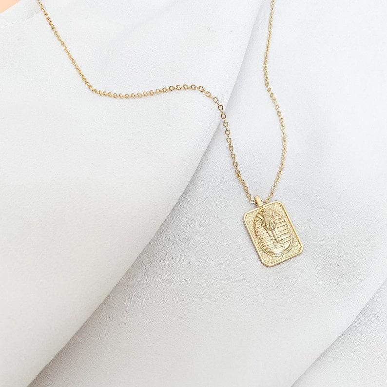The Empress layering necklace gold pharaoh tag necklace gift for her tag pendant gold necklace Egyptian necklace pharaoh necklace
