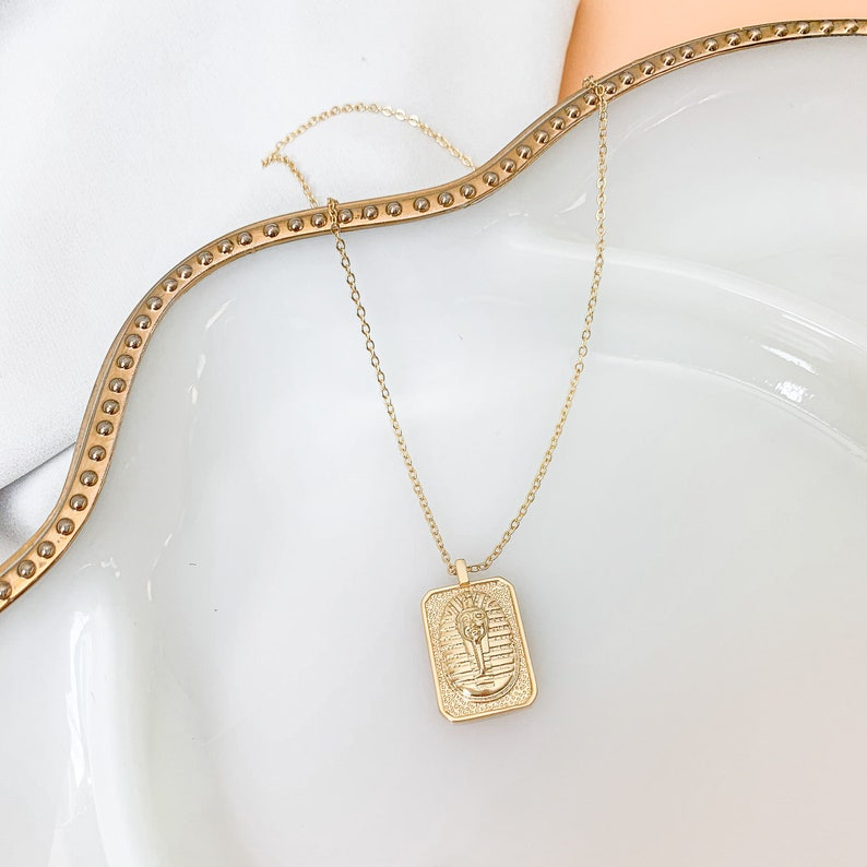 gold pharaoh tag necklace layering necklace tag pendant The Empress Egyptian necklace pharaoh necklace gold necklace gift for her
