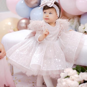 tulle dress long train girl dresses for baby gorgeous fluffy dress for kids Pink birthday baby girl gown first year birthday party dress