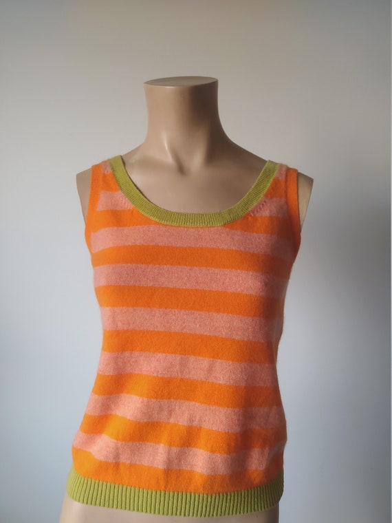 Y2k cashmere 90s style striped top vest/ orange gr