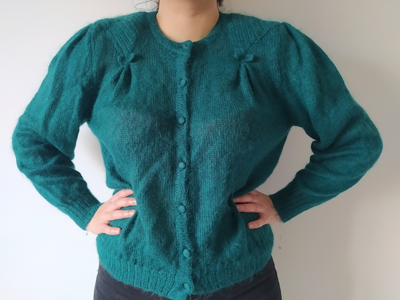 green mohair puff sleeves sweater - rare kid mohai