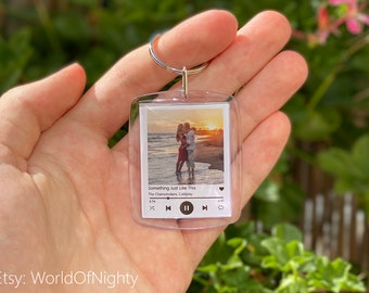 Keychain in Spotify cover style with your photo   personalized, couple, gift for boyfriend, girlfriend, friends