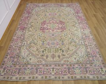 antique rug RK 6383 turkey rug worn rug vintage rug turkish area rug 4.6 x 8.9 ft wool rug oushak rug bohemian rug