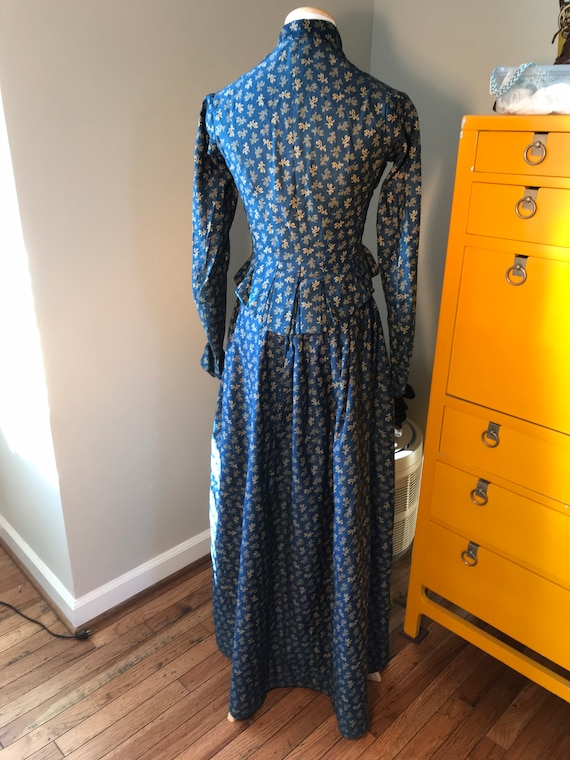 Antique Indigo Blue Calico Two-Piece Outfit.