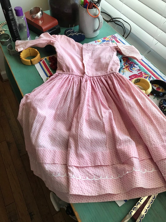 Antique Pink Calico Child's Dress. 19th Century