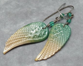 Angel Wing Earrings - Sterling Silver and Polymer Clay Wing Earrings - Multiple Colors and Styles Available