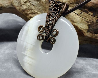 White Agate Wire Wrapped Donut Necklace