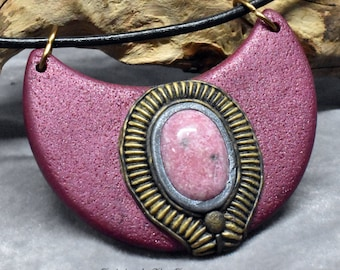 Rhodonite and Burgundy Polymer Clay Necklace