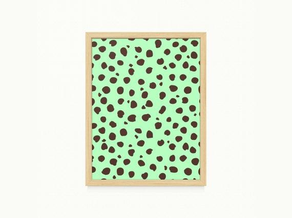 Mint Chocolate Chip Polka Dot Pattern Printable Artwork Png Etsy