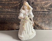 Vintage Irish Dresden Porcelain Lace Spring Bride, Muller Volkstedt Irish Dresden Figurine, Porcelain Lace Bride, Made in Ireland