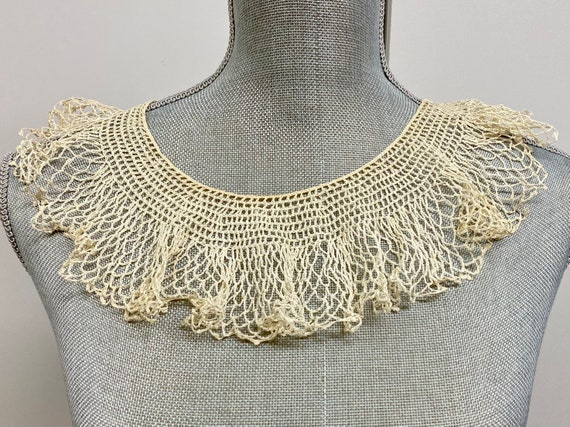 Vintage Off White Crocheted Collar, Dress Collar,