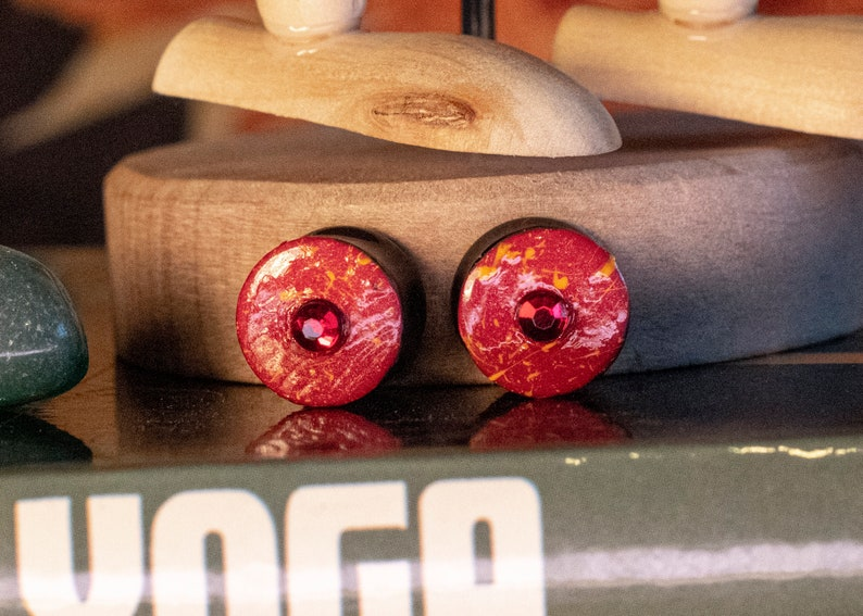 12  12mm Red and Orange Hand Painted Double Flare Plugs