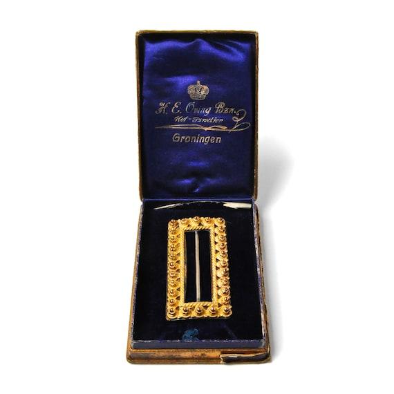Antique Yellow Gold Rectangular Belt Buckle