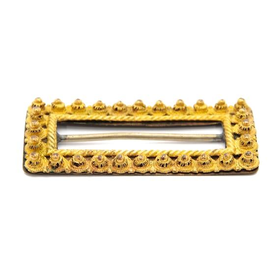 Antique Yellow Gold Rectangular Belt Buckle - image 6