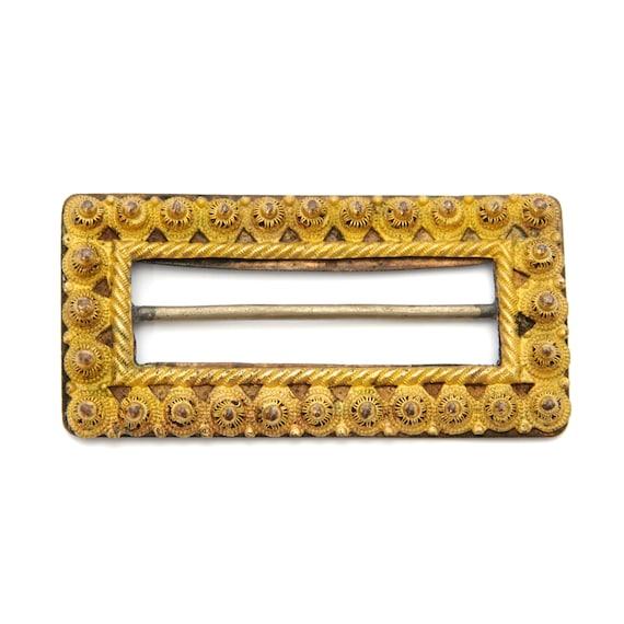 Antique Yellow Gold Rectangular Belt Buckle - image 4