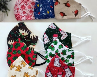 Christmas Holiday face masks! Adjustable, washable, breathable! Great quality Christmas gift, winter essential! Festive!