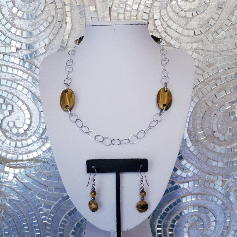 Tigers Eye Sterling Vintage Necklace Set