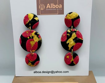 Statement earrings in modelling compound stud earrings in sterling silver 925 gold plated UNIKAT by ALBOA