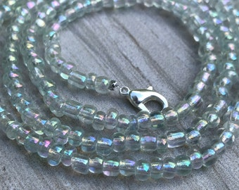 Iridescent Face Mask Chain Lanyard, Wrap Bracelet, Anklet, Choker, Necklace, Eyeglass Holder, Beaded Mask Chain, 2021  Personalized Gift
