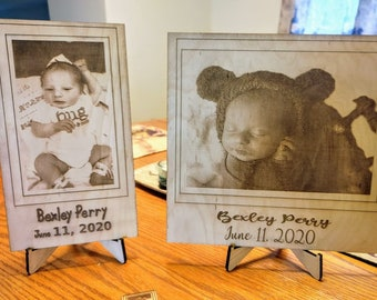 """11"""" x 14"""" Personalized Engraved Photos on Wood with Display Stand"""
