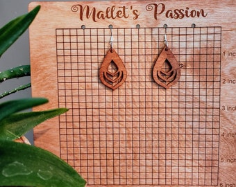 Lightweight, cute, and go with everything Detailed Laser Cut Wood Dangle Drop Earrings with Stainless Steel Hypoallergenic