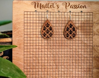 Fleur De Lis Lightweight, cute, and go with everything Detailed Laser Cut Wood Dangle Drop Earrings with Stainless Steel Hypoallergenic