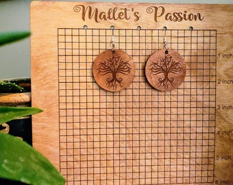 Tree of Life Lightweight, cute, and go with everything Detailed Laser Cut Wood Dangle Drop Earrings with Stainless Steel Hypoallergenic