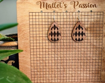 Plaid Patterned Lightweight, cute, and go with everything Detailed Laser Cut Wood Dangle Drop Earrings with Stainless Steel Hypoallergenic