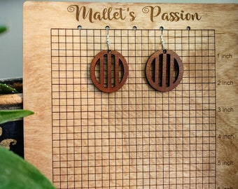 Circle Lightweight, cute, and go with everything Detailed Laser Cut Wood Dangle Drop Earrings with Stainless Steel Hypoallergenic