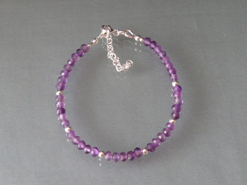 Amethyst Bracelet Gift for Women Genuine Gemstone Bracelet Birthday Gift