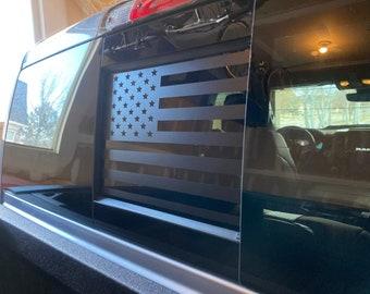 2009 - 2021 Dodge RAM Back Middle Window American Flag Decal Sticker Matte Black