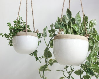 Boho Ceramic Hanging Planter Pot in White and Beige with Drainage