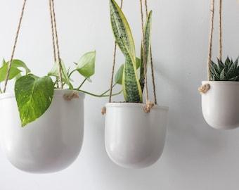 Minimalist Hanging Planter Pot in Matte White