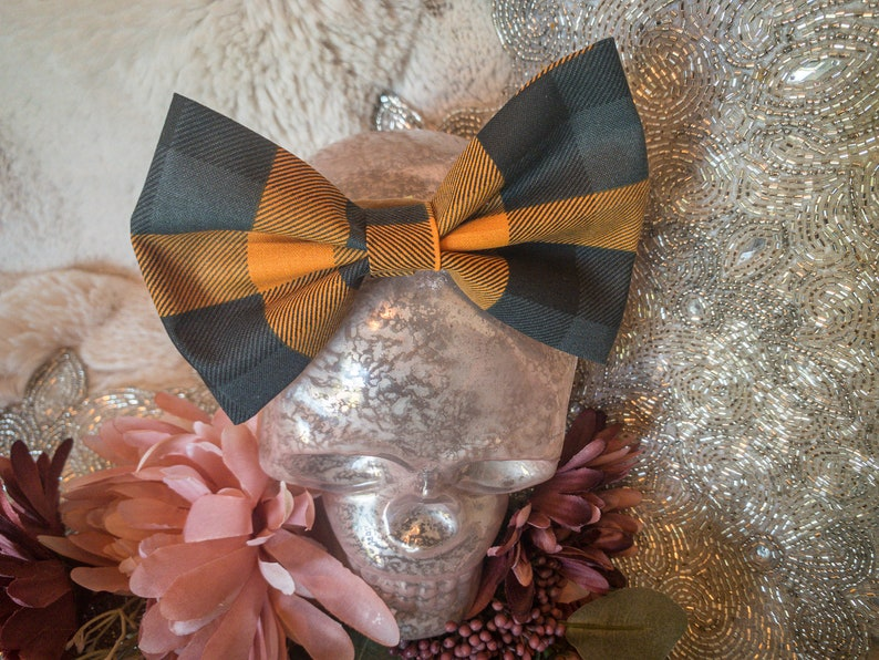 Halloween Bow Girls Bow Mommy and Me Cute Bow Fall Bow Baby Bow Pumpkin Spice Plaid 5\u201d Big Bow Headband Infant Toddler