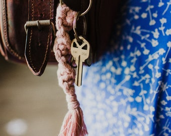 Recycled Cotton Cord Keychains on Recyclable Lobster Clasp | Dusty Rose or Multicolor Options
