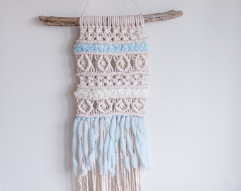 Medium Macrame Wall Hanging | Recycled Cotton Cord | Driftwood Art | Hand Dyed Wool | ADELAIDE | African Violet and Ice Blue | 2 Colors