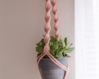 Dusty Rose Macrame Plant Hanger | Small Hanging Plant Holder | ROSE | Recycled Macrame Cord | Short Macrame Plant Hanger