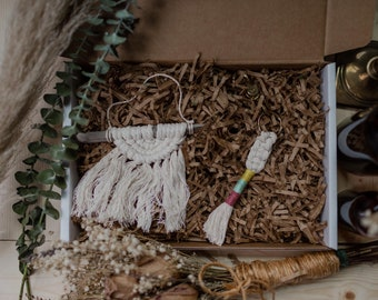 Petite Macrame Gift Box Set | Small Gift Boxes | Gifts for Her | Boho Birthday Gifts | Fiber Art Gifts | Handmade Made in the USA