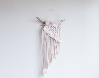 Small Driftwood Macrame Wall Hanging | Recycled Cotton Cord | Hand Dyed Wool Woven Tapestry | RIVERSIDE | African Violet Color | 2 Options
