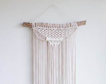 Medium Driftwood Macrame Wall Hanging | Recycled Cotton Cord | Hand Dyed Wool Woven Tapestry | CLAIRE | Frosted Ice Blue | 2 Color Options