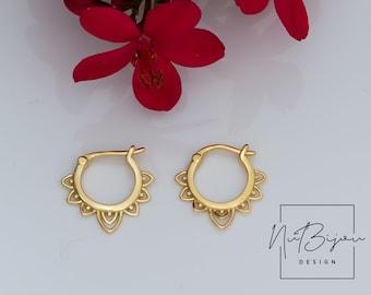 gift for her 14k gold filled hoop gift under 25 simple hoop earrings Lotus hoop earrings leaf earrings minimalist earrings