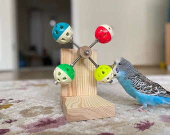 Rotating Bird Toy with bell, budgie toy, parakeet toy, parrot toy, perch, cage accessories, plastic ball for birds