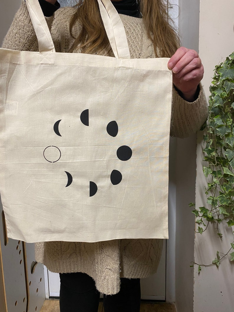 Witch designs  100/% Cotton Tote Bags  Crystals Hippy design Moon Phases